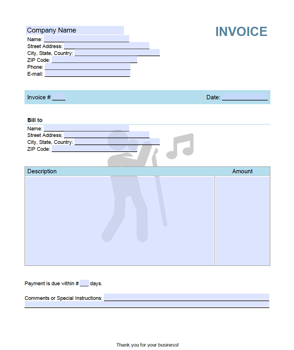 music singer invoice template. Black Bedroom Furniture Sets. Home Design Ideas
